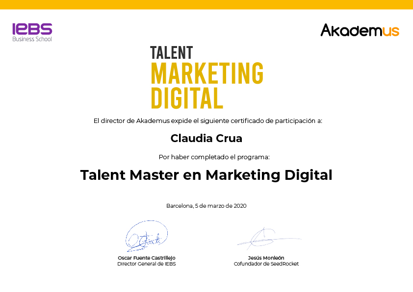 Certificado Talent Marketing Digital